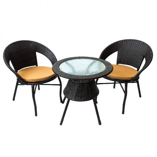 Градински комплект - маса и два стола, кафяв цвят