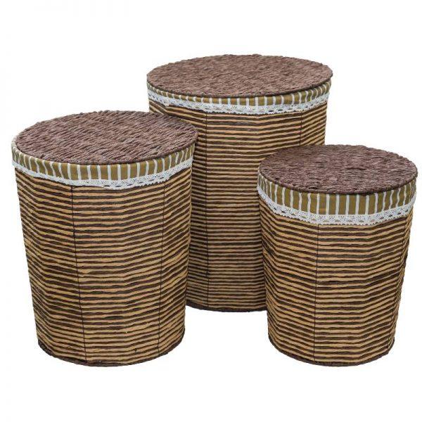 Плетен кош от ратан с капак, 3 размера