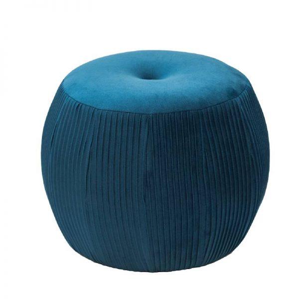 Табуретка плюш - цвят син, 44*44*34см