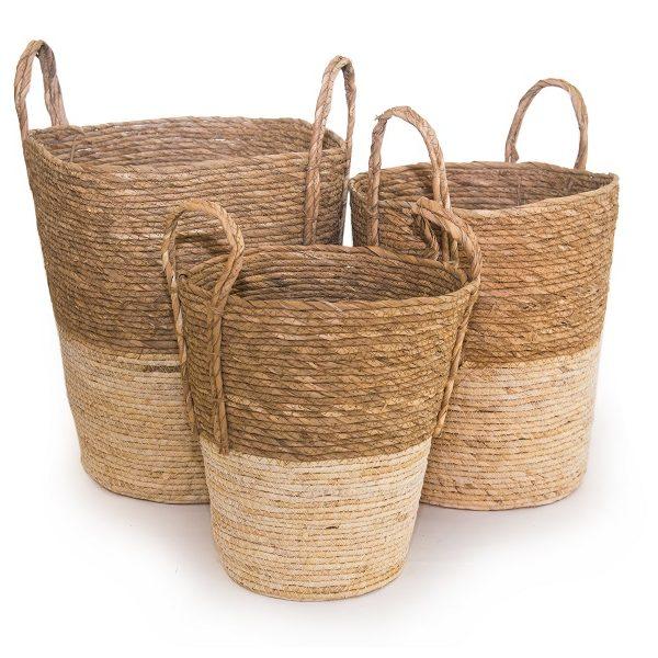 Плетени конопени кошници, 3 размера