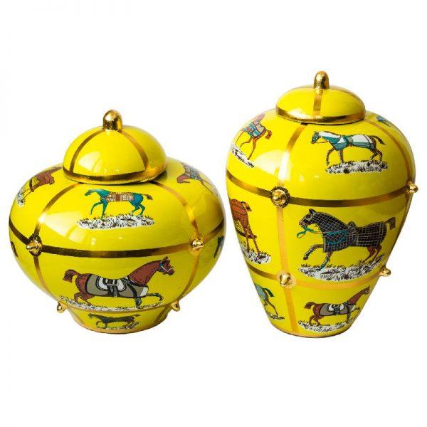 Керамичен съд/ваза за богатство с фигури на коне, 2 размера
