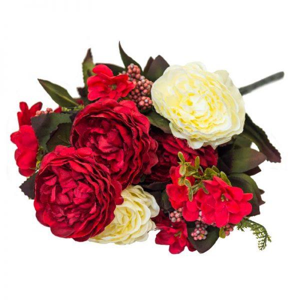Букет цъфнали Божури и ситни цветчета, 5 цвята