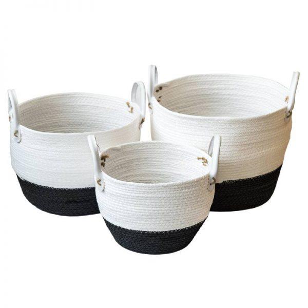 Черно-бял плетен кош, 3 размера