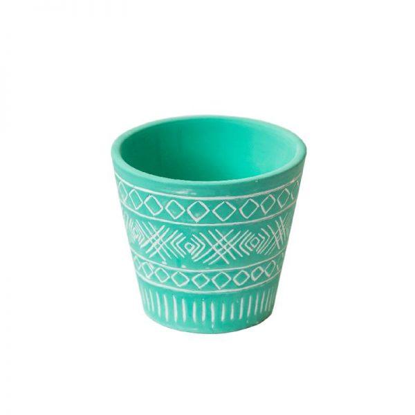 Декоративна кашпа с орнаменти, 3 цвята