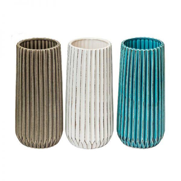 Едноцветнa стилнa вазa  в 3 десена, 26 см
