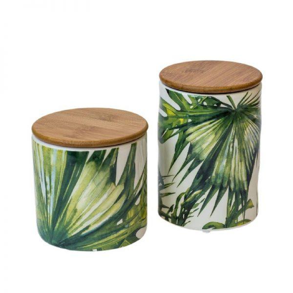 Керамичен буркан с капак, зелени палмови листа, 2 размера