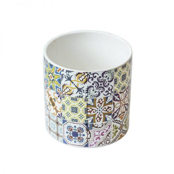 Керамична кашпа с цветни орнаменти, 4 десена