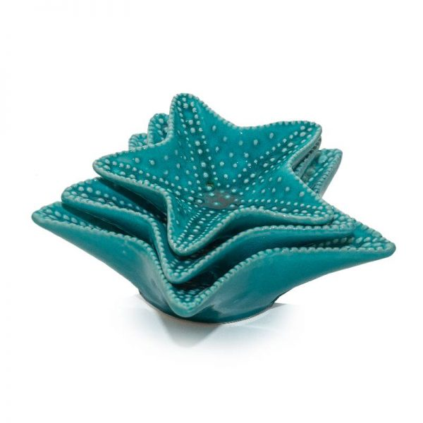 Комплект 3 порцеланови чинийки звезда, 2 цвята