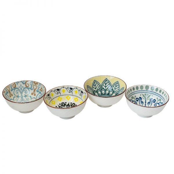 Комплект 4 керамични купички, 4 десена