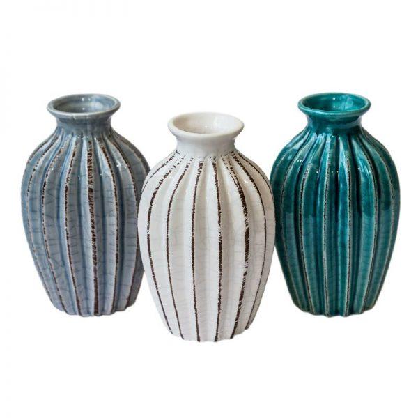 Керамична ваза, 3 цвята