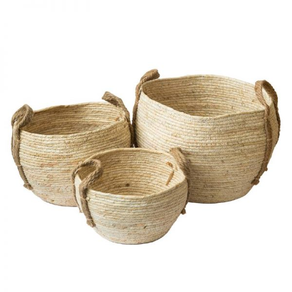 Плетена конопена кошница/кашпа 3 размера