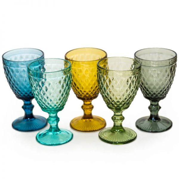 Стъклена релефна чаша със столче, 5 цвята