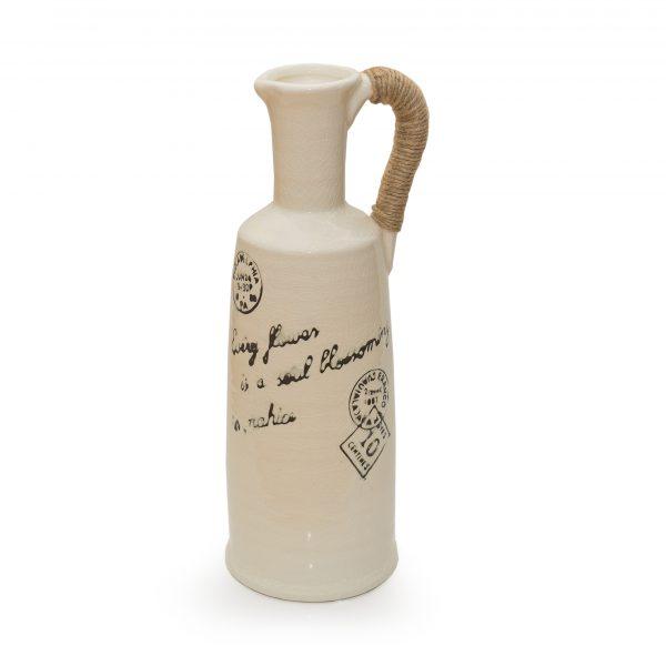 Керамична ваза с конопена дръжка, 15*34см