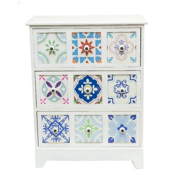 Арт шкаф в бял цвят, 62*30*75см