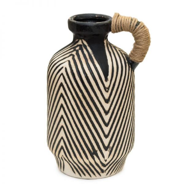 Декоративна керамична ваза с конопена дръжка,18*18*30см