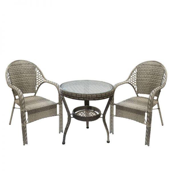 Градински комплект - кръгла маса с два стола