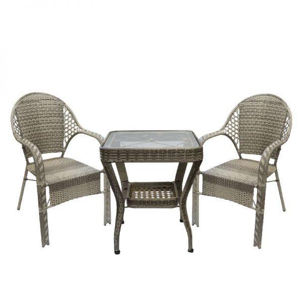 Градински комплект- квадратна маса с два стола