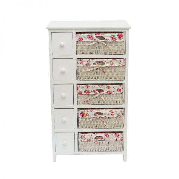Олекотено бяло шлафче с пет чекмеджета
