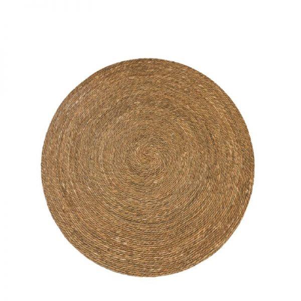 Плетен килим от юта - кръгъл