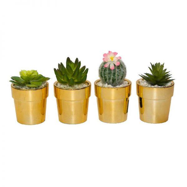 Изкуствени сукулентни растения в златна кашпа, 4 модела