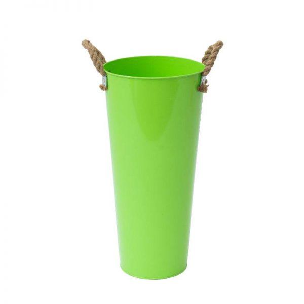 Метална кашпа с конопени дръжки, 5 цвята