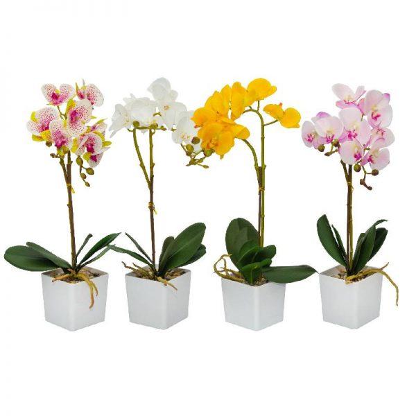 Изкуствена орхидея в бяла кашпа, 4 цвята