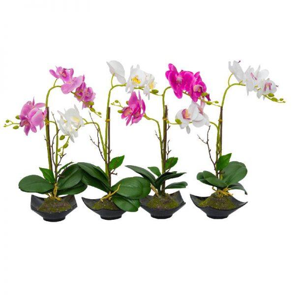 Изкуствена орхидея в керамична кашпа, 4 цвята
