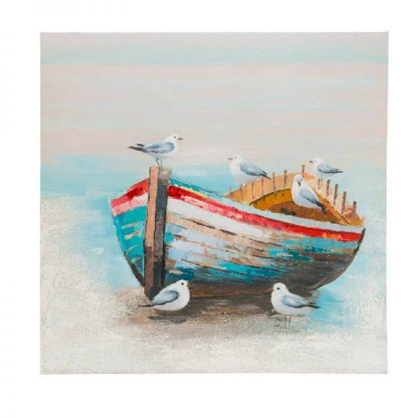 Картина - Лодка с гларуси, 80*80 см