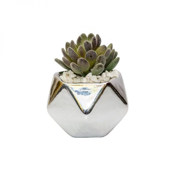 Малко изкуствено растение в сребриста кашпа, 9*10 см