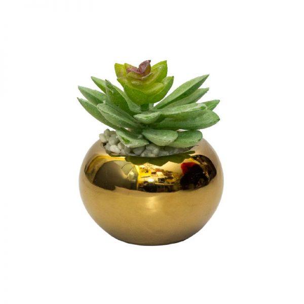 Малко изкуствено растение в златиста кашпа, 7*11см
