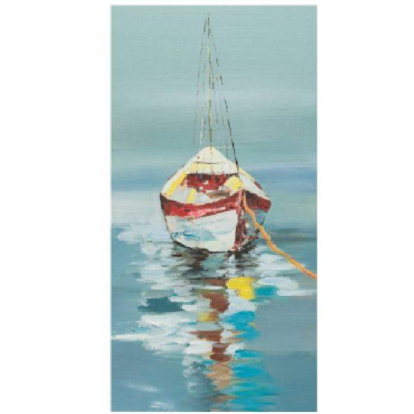 Маслена картина лодка в спокойно море, 40*80 см