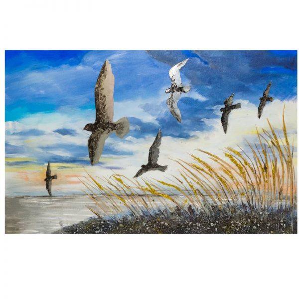 Релефна картина морски бряг с птици, 80*120см