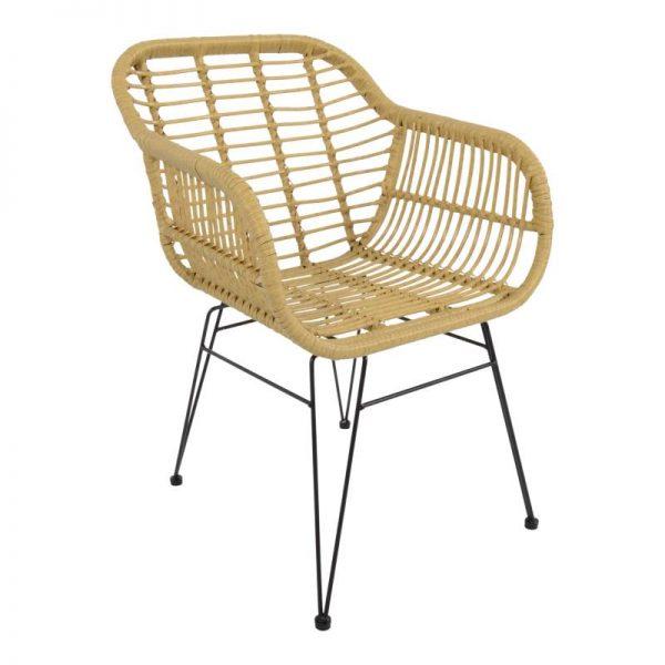 Градински ратанов стол, бежов цвят