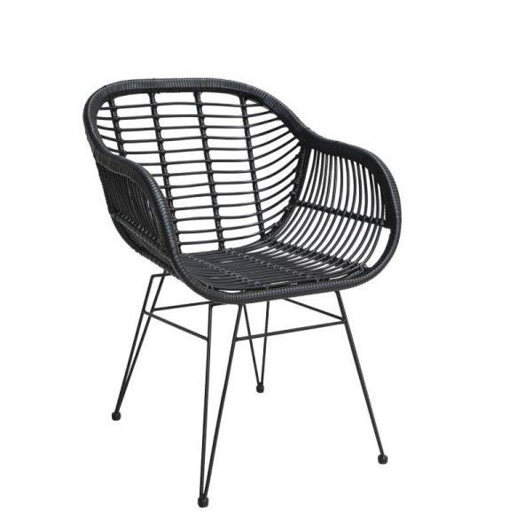Градински ратанов стол, черен цвят