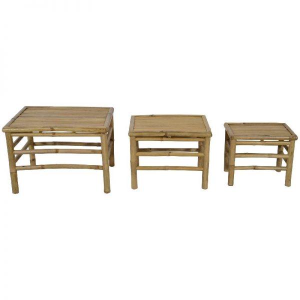 Комплект 3 броя бамбукови табуретки