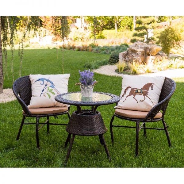 Градински комплект - Маса и два стола, Кафяв