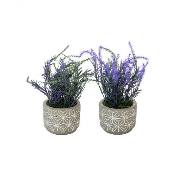 Изкуствено растение в сива кашпа с бели орнаменти, 2 цвята