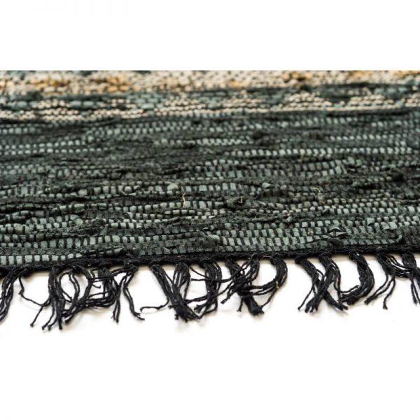Килим тип черга с ресни - черно с бежово, 3 размера