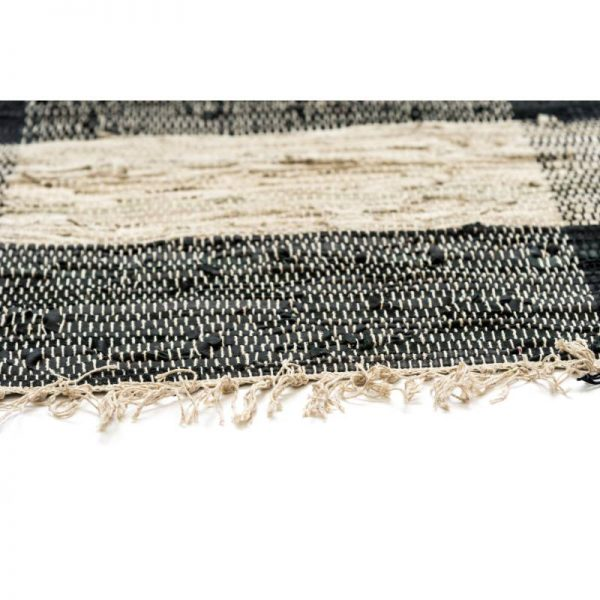 Килим тип черга с ресни - сиво с черно, 4 размера