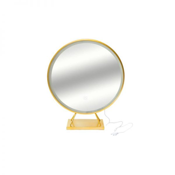 Огледало LED златно на стойка
