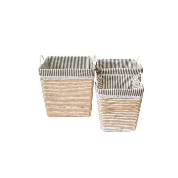 Плетен кош, сиво с бяло, 3 размера