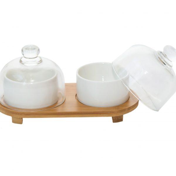 2 купички за сервиране с капаци и дървена подложка