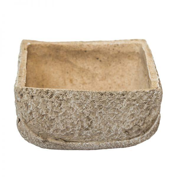 Антична каменна кашпа, квадратна,  24*24*13,5см