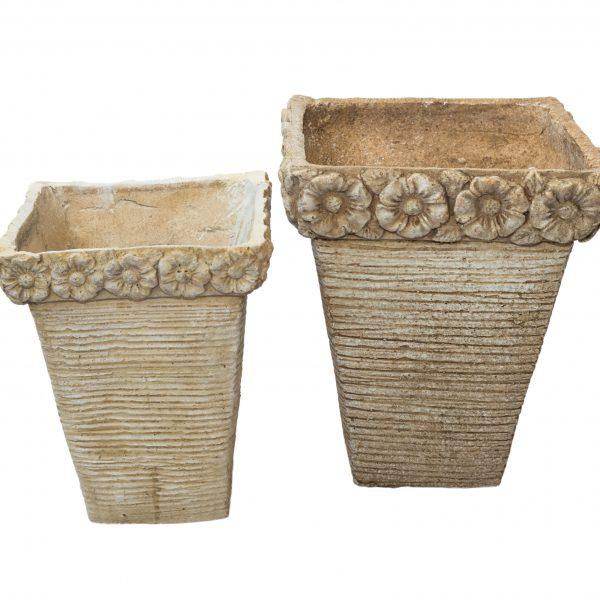 Антична каменна кашпа с цветя, 2 размера