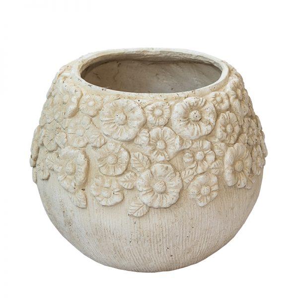 Антична каменна кашпа с цветя, кръгла, 43*43*34см