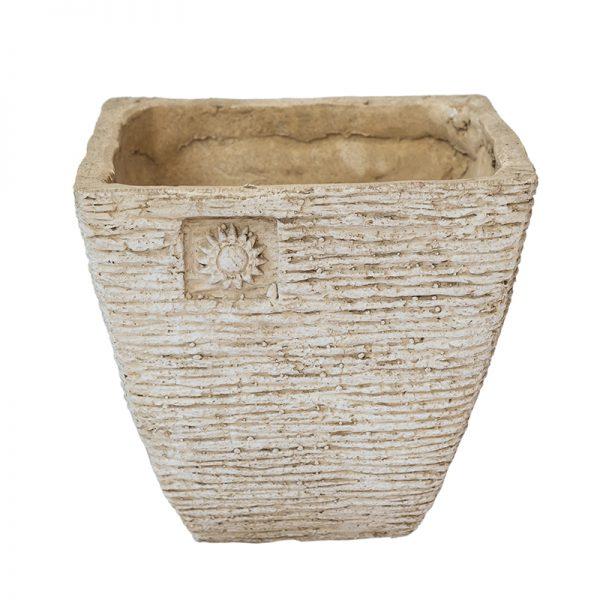 Антична каменна кашпа с орнамент цвете, 2 размера