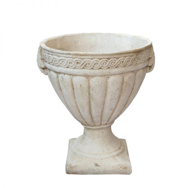 Антична каменна кашпа със столче, 36,5*36,5*42см