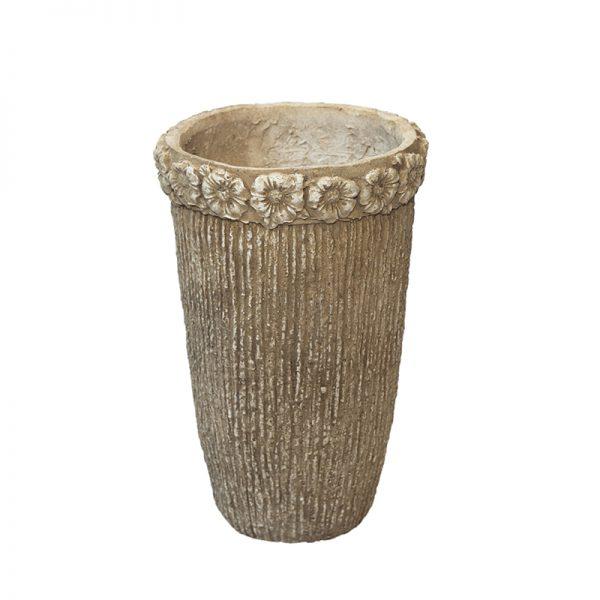Антична каменна ваза с цветя, висока, 24*24*39см