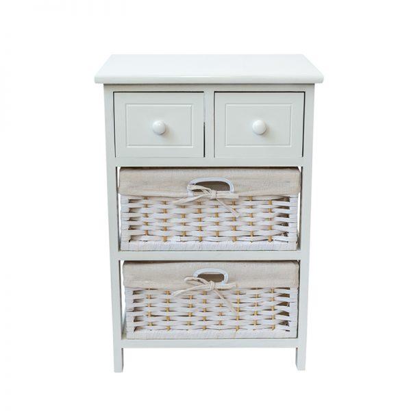 Бял шкаф с 4 чекмеджета, 40*30*58см