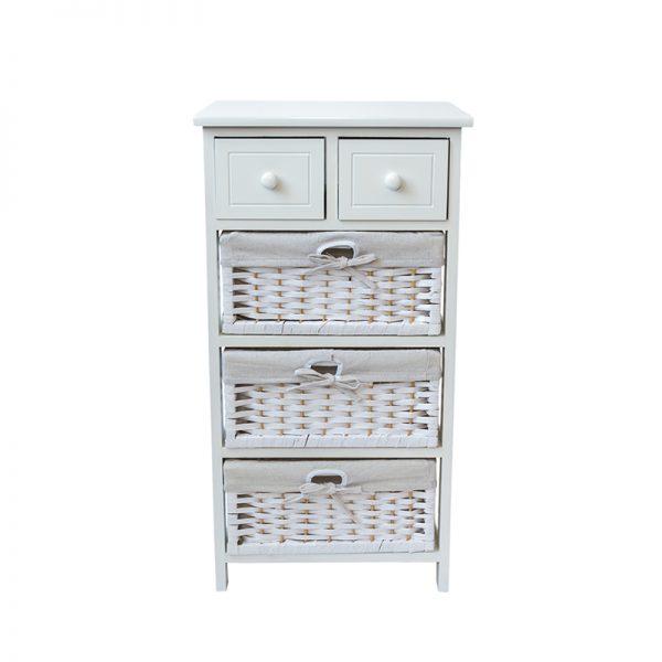 Бял шкаф с 5 чекмеджета, 40*30*77см